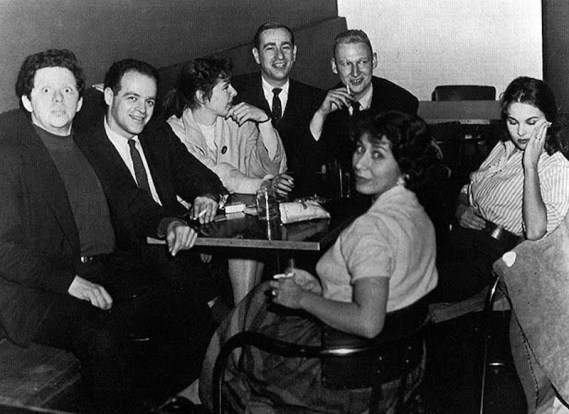 The Compass Players, circa 1955. From left: Severn Darden, Larry Arrick, Elaine May, Shelley Berman, Mike Nichols, Rose Arrick, and Barbara Harris, whom he later directed to a Tony Award in The Apple Tree.