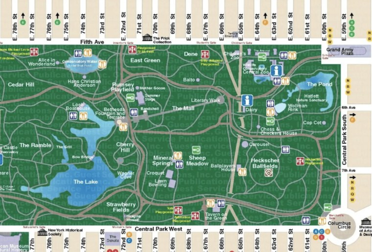 mappa central park new york