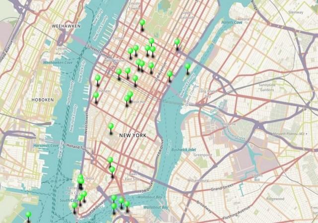 Carte des 44 principaux lieux à visiter à New York.