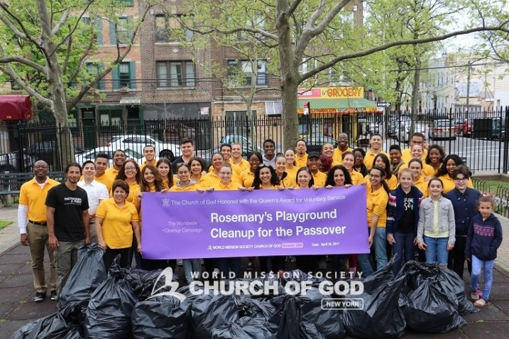 world mission society church of god, wmscog, church of god in new york, ridgewood, queens, rosemary's playground, environmental protect, park cleanup, yellow shirt volunteers
