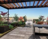 Building Rooftop Terrace & Wood Pergola Building Rooftop