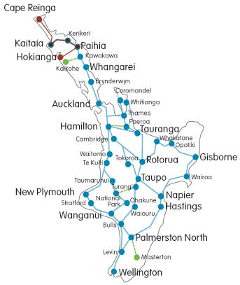 New Zealand Route Map.North Island Nz Travel Route Myvacationplan Org