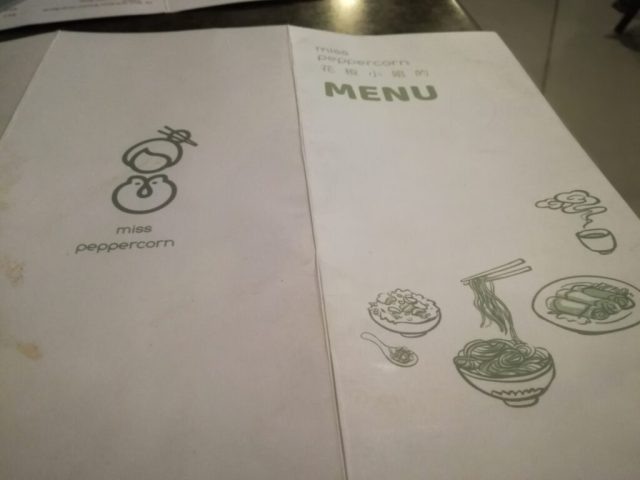 Mis peppercorn's simple menu