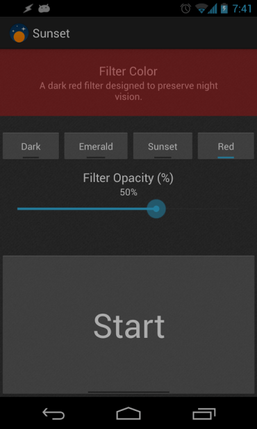 sunset screen filter