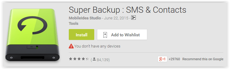 Super Backup; SMS & Contacts