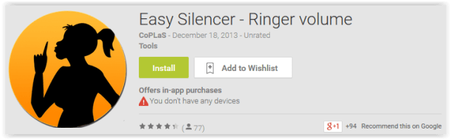Easy Silencer - Ringer volume