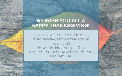 Nexa1 will be Closed for the Thanksgiving Holiday