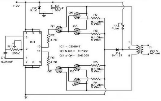100w Inverter Circuit 12vdc To 220vac Under Repository
