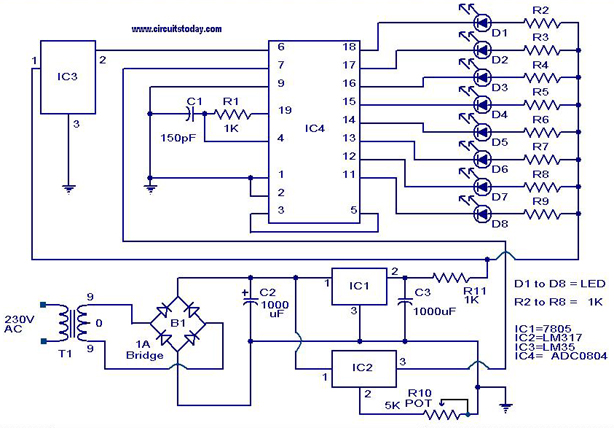 Digital Temperature Sensor Circuit Using ADC0804 LM35 And