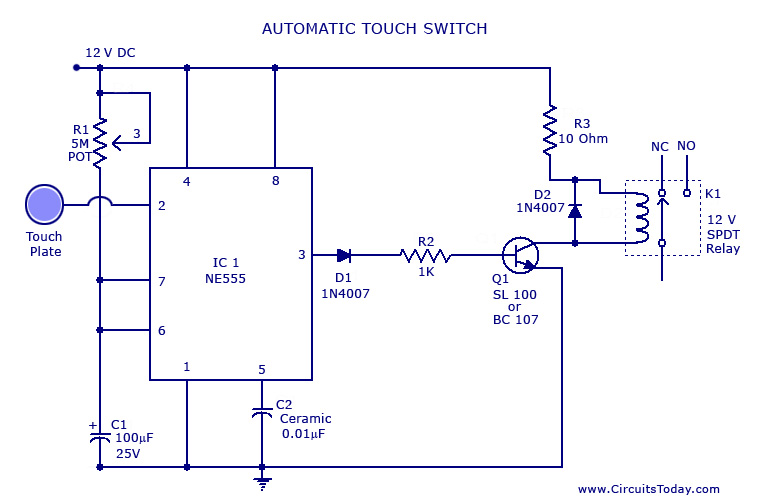 Touch SwitchCircuit Using NE 555 IC Under Repository