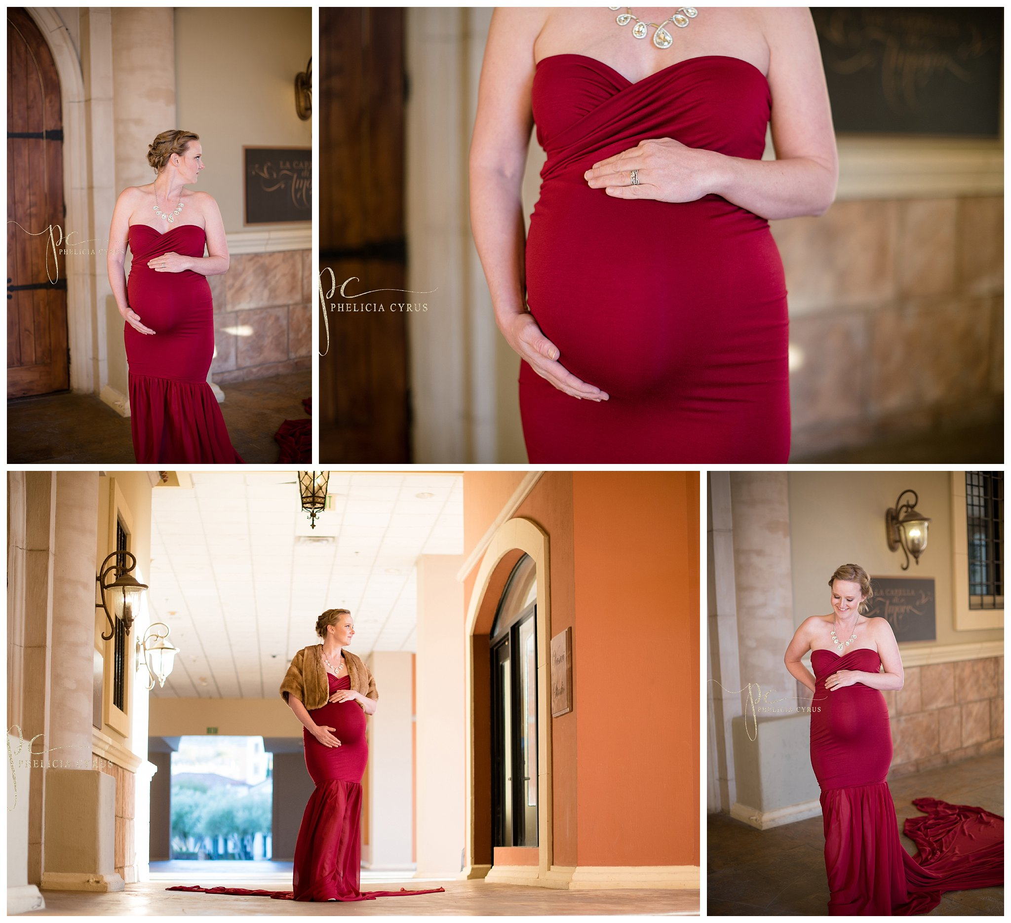 Beautiful-maternity-session-in-red-sew-trendy-gown-at-Lake-Las-Vegas