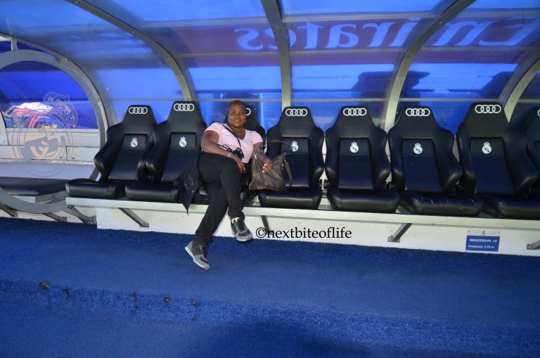 On the bench at santiago bernabeu football stadium tour
