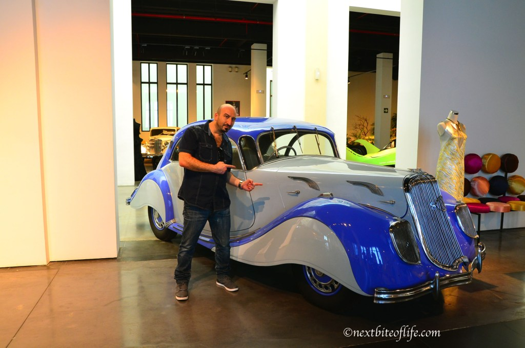 classic blue car at museum automovilistico in Malaga Spain