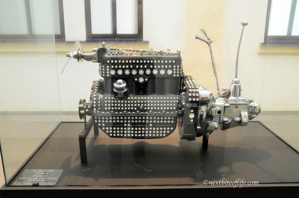swarovski covered engine at auto museum malaga