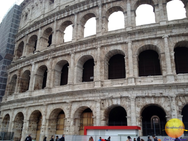 The already cleaned section of the Colosseum . I imagine when they get all around, it's time to do it again..yikes!