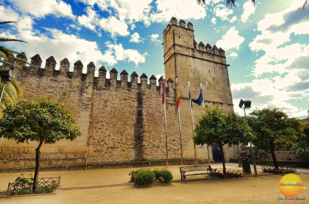 alcazar of cordoba entrance with tower of inquisition