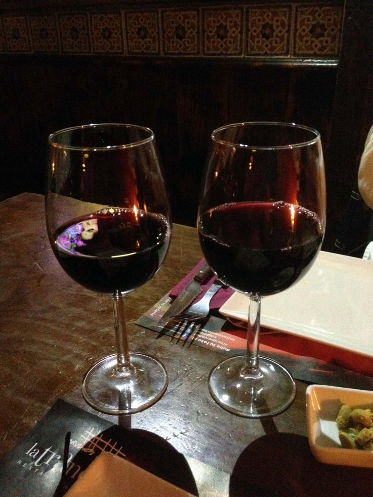 2 glasses of red argentinian wine at la tranquera