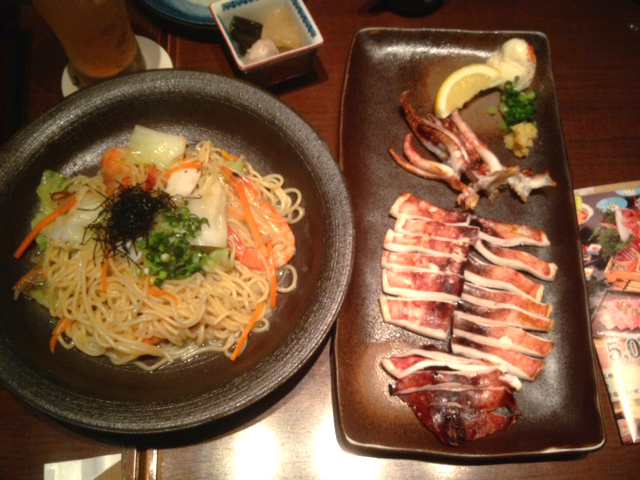 noodles and grilled octopus plate in Tokyo