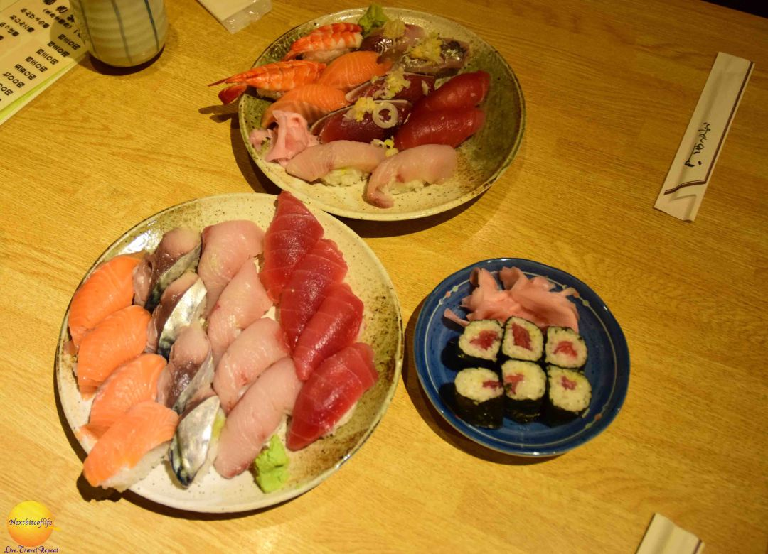 foodies in japan sushi plates