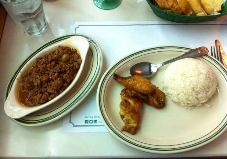 image of rice, plantain plate and chopped beef