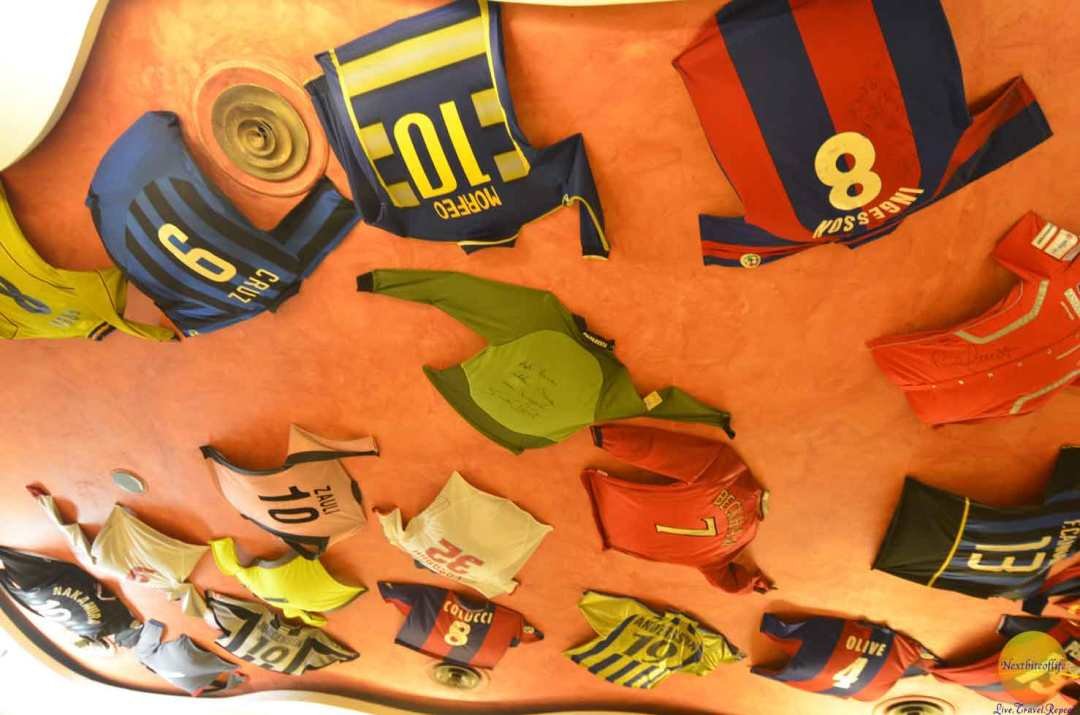 They had jerseys of football players who had eaten there on the ceiling and walls.