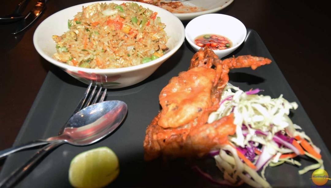 Tempura crab and rice with shrimp.