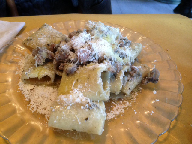 paccheri pasta with lamb ragu in valencia spain