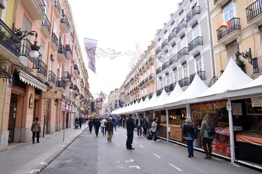 street with vendor fallas valencia spain