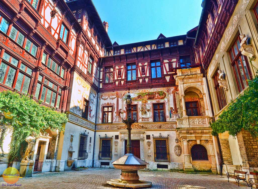 courtyard of peles castle sinaia romania