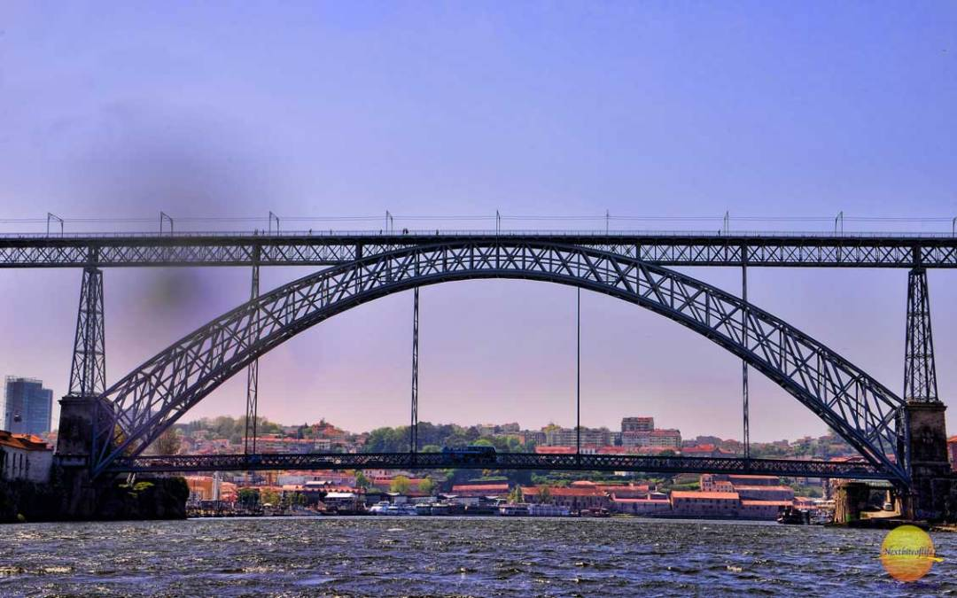 dom luis 1 bridge from a sailboat porto