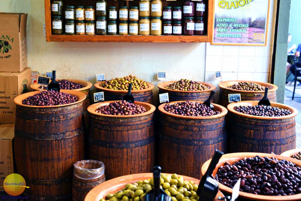 greek olives in barrels, athens