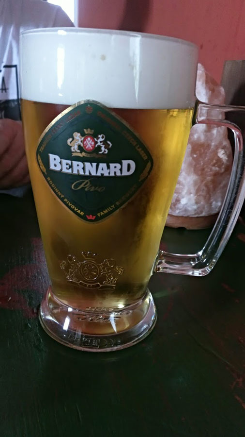 mug of beer in cesky krumlov