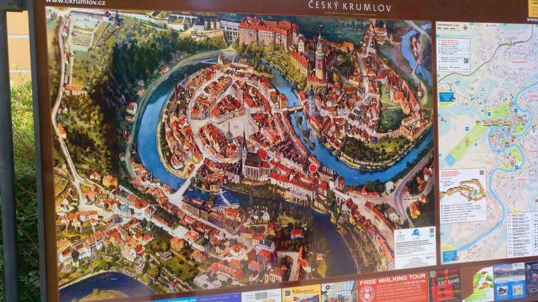 cesky krumlov town map
