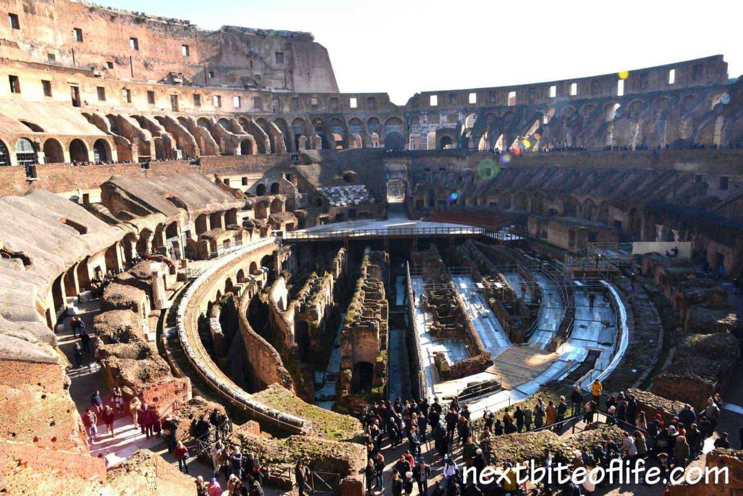 view of Colosseum arena Rome from the top