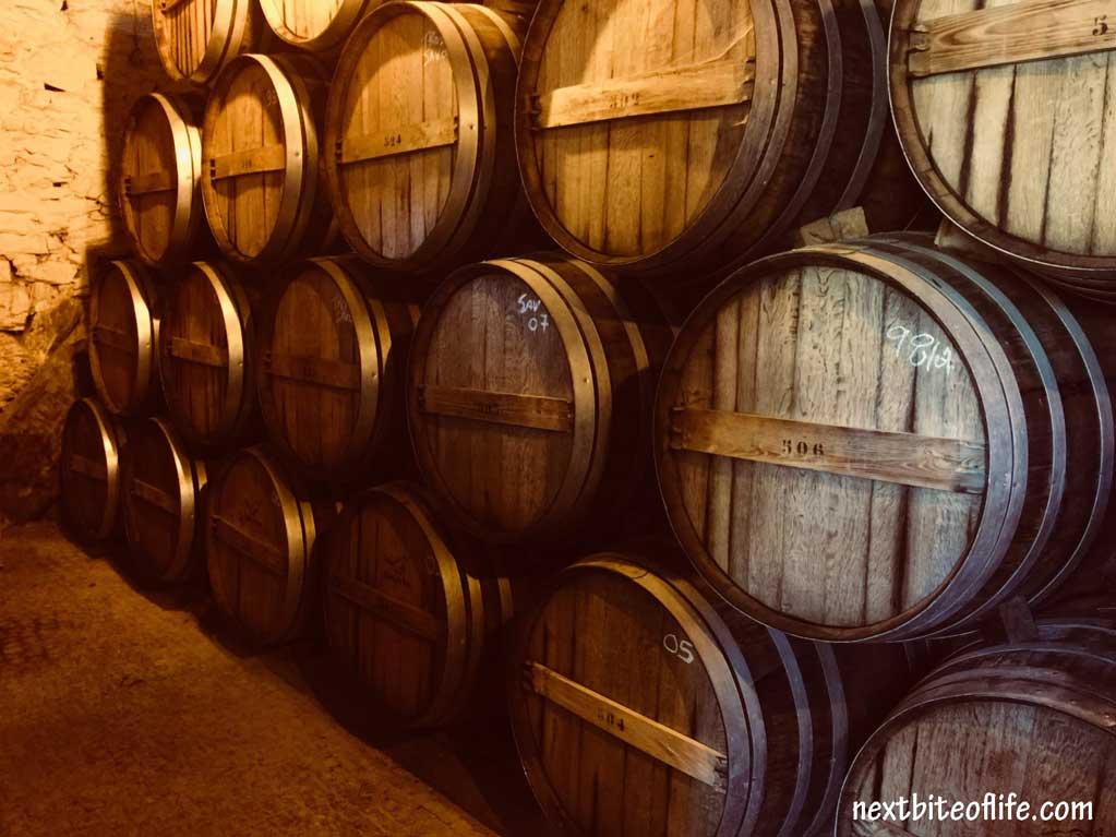 barrels of wine in Douro Valley