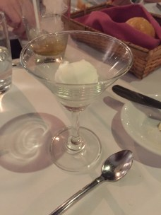 Lemon sorbet served as palate cleanser aka free dessert