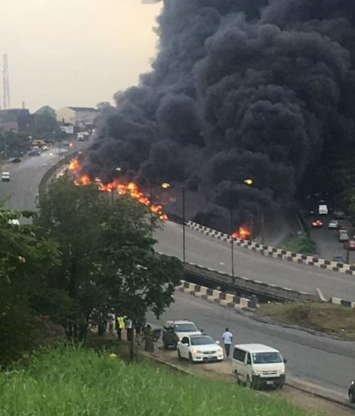 BREAKING:  Disaster as petrol tanker fire consumes over 30 vehicles, several people