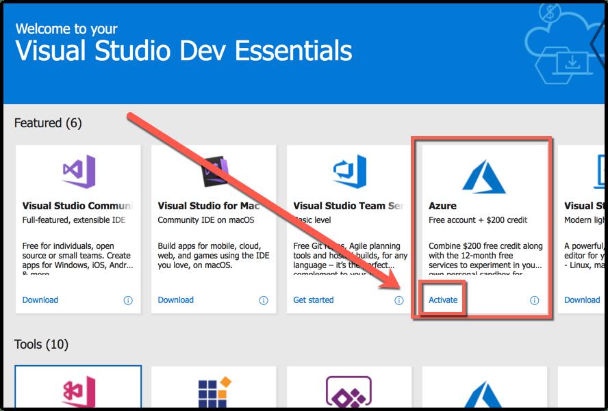 Visual studio Dev Essential - activate azure
