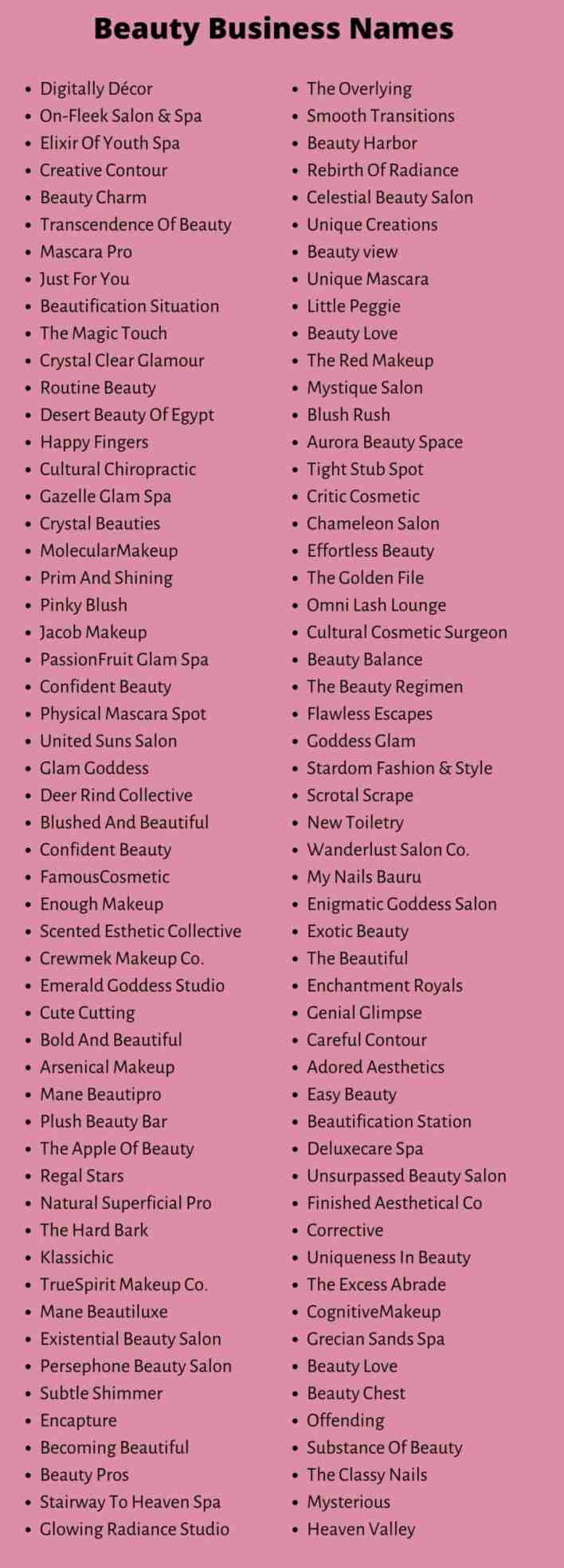 Beauty Business Names