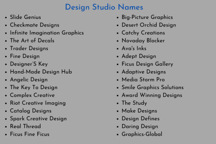 Design Studio Names