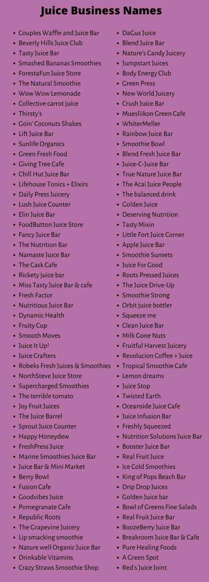 Juice business names