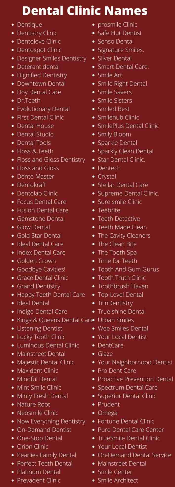 Dental Clinic Names