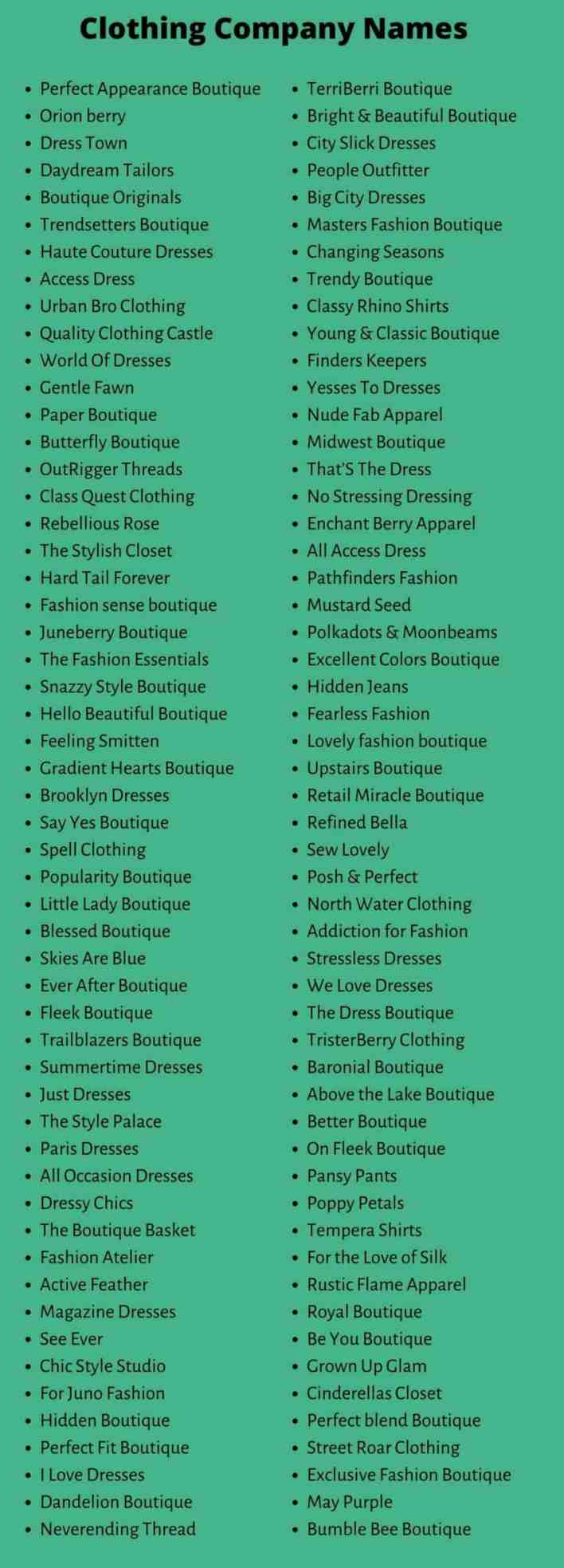 Clothing Company Names