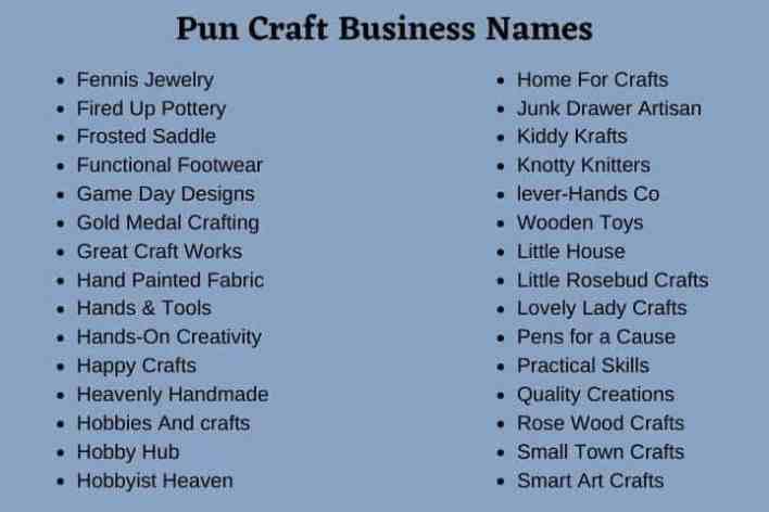 Pun Craft Business Names