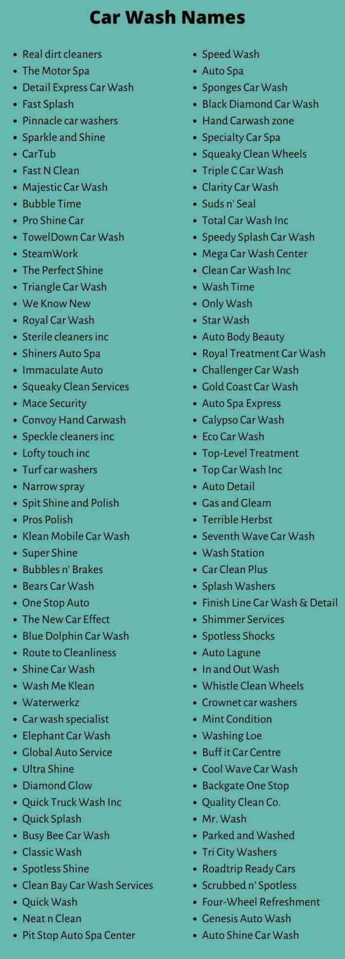 Car Wash Names