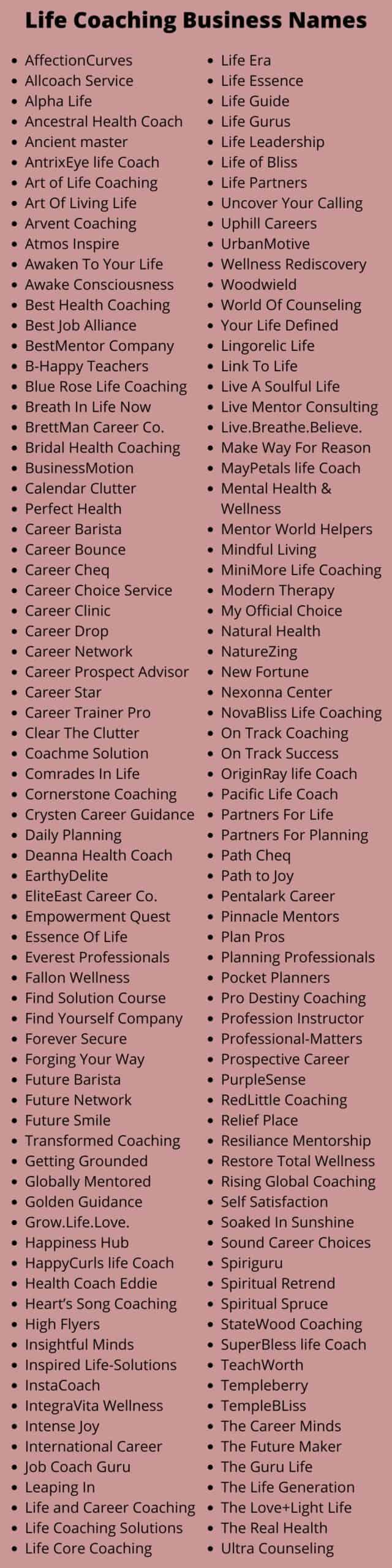 Life Coaching Business Names