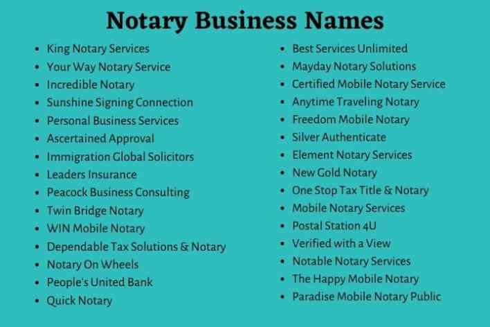 Notary Business Names