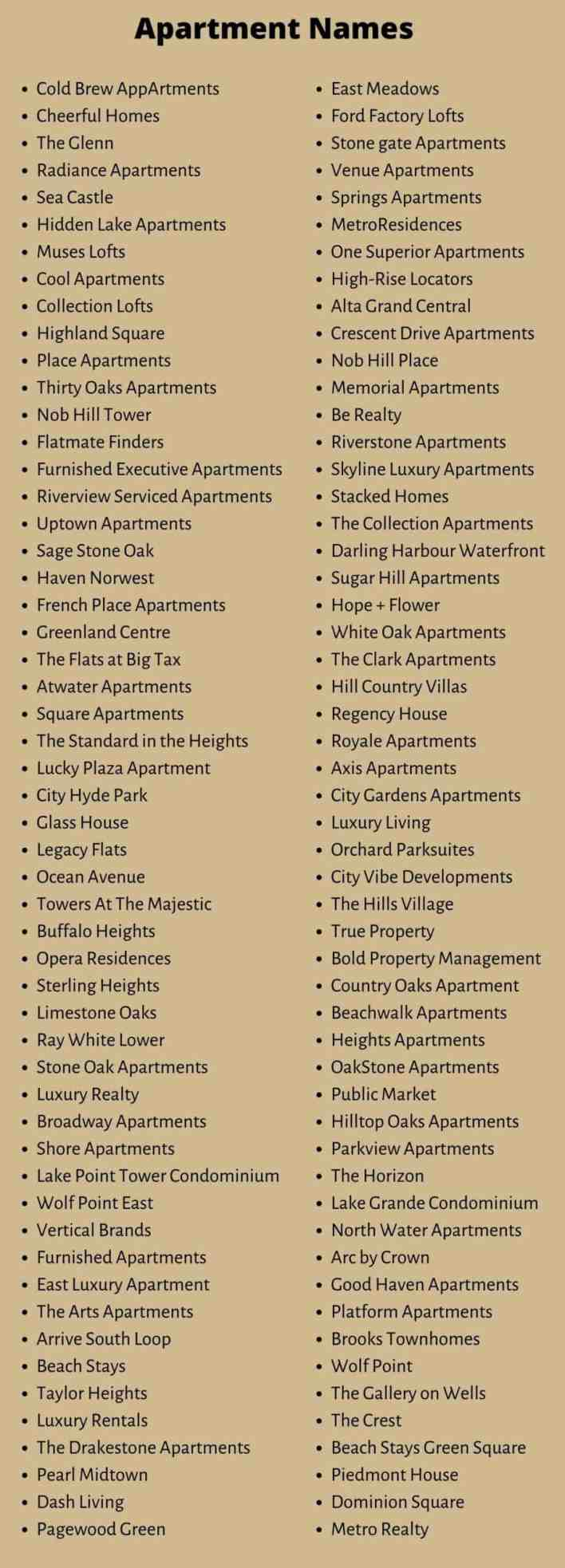 Apartment Names