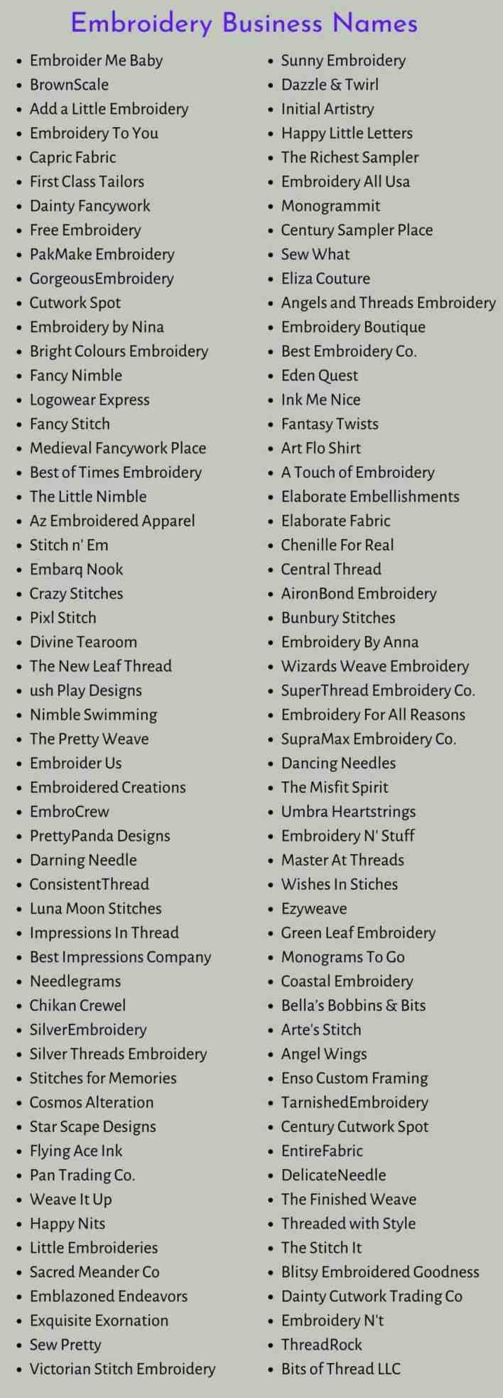 Embroidery Business Names
