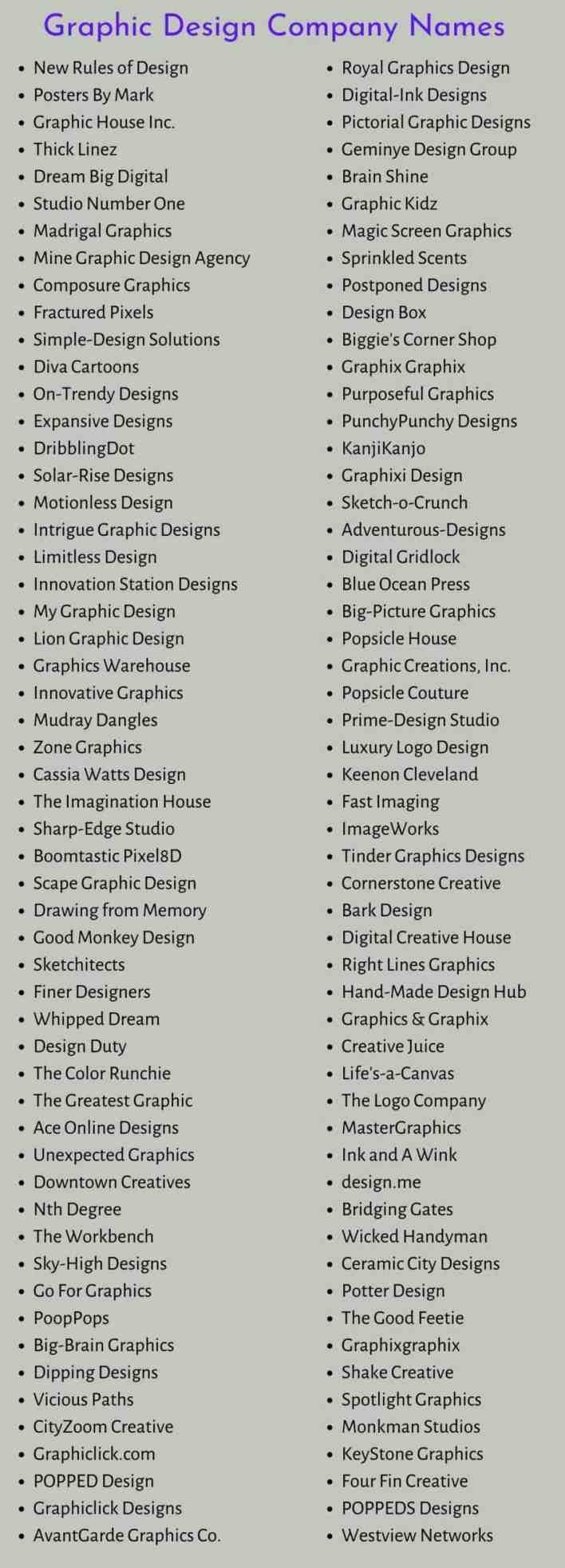 Graphic Design Company Names